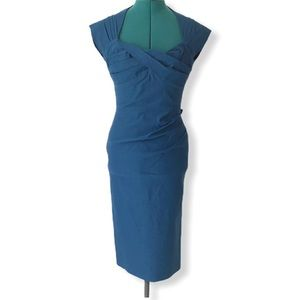 Stop Staring Peacock Blue Love Pin-Up Dress, Large